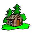 wooden cabin in the woods sketch vector image