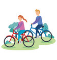 young couple on bicycle characters vector image vector image