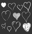 hearts icon set love hand drawn on black vector image