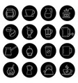 coffee thin line icons set in black and vector image