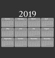 2019 calendar isolated on a black background vector image vector image