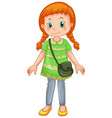 a cute girl cartoon character vector image