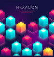 abstract background with 3d shapes hexagon vector image vector image