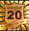 anniversary 20 th label with ribbon vector image