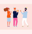 birthday gift family party fun people with drink vector image vector image