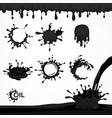 black oil drops and splash vector image