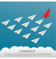 business leadership concept with red paper plane vector image