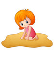 cartoon little girl playing a sand vector image vector image