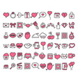 collection valentines day doodle icons vector image