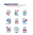 coronavirus disease - line design style icons set vector image