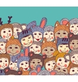 crowd happy basmiling and sky vector image vector image