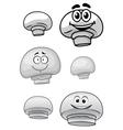 Cute cartoon champignon mushrooms vector image vector image