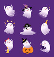 cute flying ghosts collection adorable halloween vector image vector image