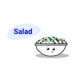 cute vegetable salad bowl cartoon comic character vector image vector image