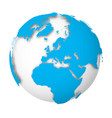 earth globe 3d world map with blue lands dropping vector image vector image