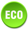 eco green round flat isolated push button vector image vector image