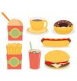 fast junk food icons flat set vector image vector image