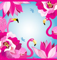 floral colorful background with flamingos vector image vector image