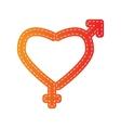 Gender signs in heart shape Orange applique vector image vector image