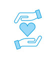 hands human with heart vector image vector image
