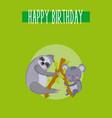 happy birthday cute animal card vector image vector image