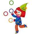 happy clown juggling colorful rings on white vector image