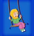 happy muslim girl sit on swing vector image vector image