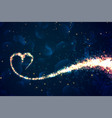 hearts made with sparkles on shiny blue background vector image