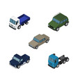 isometric car set of auto armored lorry and vector image vector image