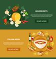 italian food horizontal banners vector image vector image