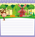 Line paper design with monkey and barn vector image vector image