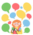 millennial text chat on social media doodle image vector image vector image