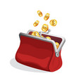 opened red purse icon with bright gold coins vector image vector image
