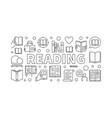 reading books horizontal banner vector image