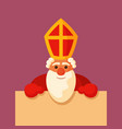 saint nicholas holding blank board vector image