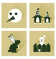 Set of flat icons with long shadow winter vector image vector image