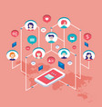 social network communication isometric concept vector image