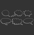 speech bubbles icon set hand drawn on black vector image