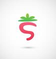Strawberry Icon - alphabet shape S vector image vector image