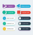 trendy web and ui application color buttons vector image