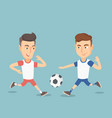 two male soccer players fighting for a ball vector image vector image
