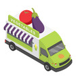 vegetables shop truck icon isometric style vector image vector image