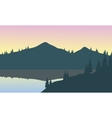 View of gray mountains with reflection in lake vector image vector image