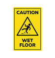 wet floor sign safety yellow slippery floor vector image vector image