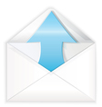 White envelope blue arrow out vector image vector image