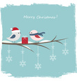 Winter card with cute birds vector image