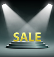 word sale located on the podium and floodlit vector image vector image