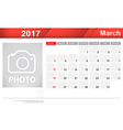 Year 2017 March month simple and clear design vector image vector image