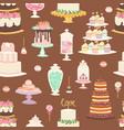 cakes cartoon style seamless pattern vector image