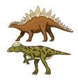 dinosaur stegosaurus pachycephalosaurus vector image
